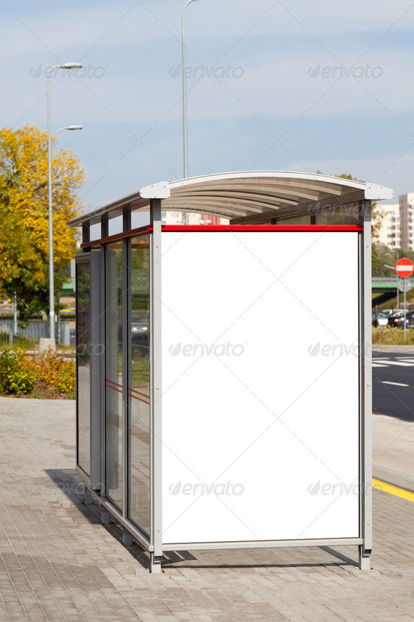 Blank billboard on bus stop - Stock Photo - Images