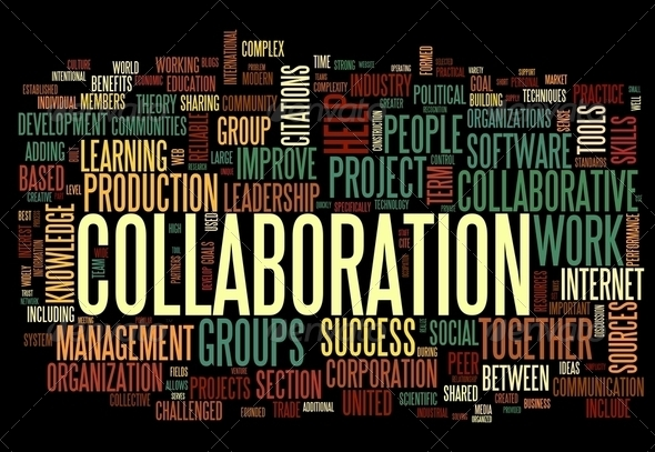 Collaboration concept in word tag cloud - Stock Photo - Images