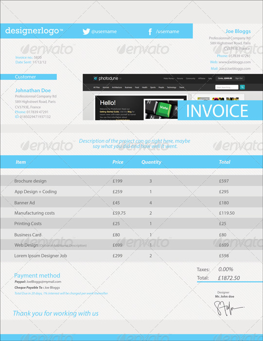 Clean Customisable Invoice Template