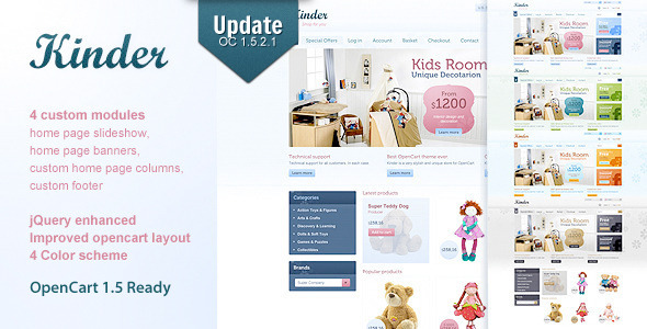 ThemeForest Kinder 4 in 1 Premium OpenCart template 260931