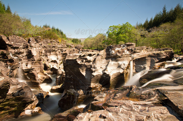 Cascades at Loch Orchy - Stock Photo - Images