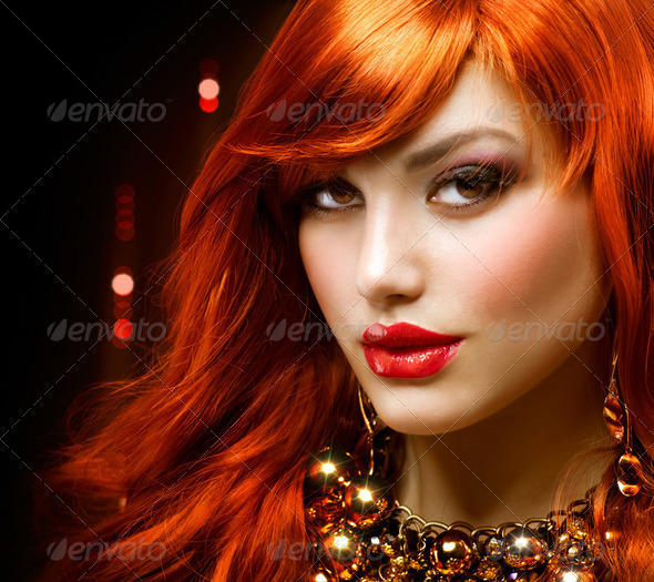 PhotoDune Fashion Red Haired Girl Portrait Jewelry 2488136