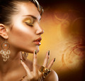 Gold Makeup. Fashion Girl Portrait - PhotoDune Item for Sale