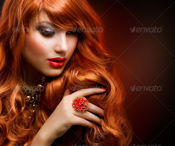 Wavy Red Hair. Fashion Girl Portrait - Stock Photo - Images