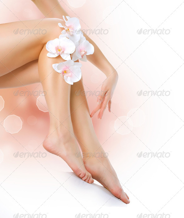 PhotoDune Healthy Legs Spa Long woman legs isolated on white 2488571