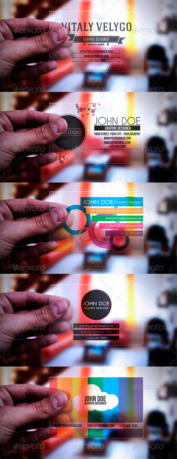 GraphicRiver 5 in 1 Transparent Business Cards 3354922
