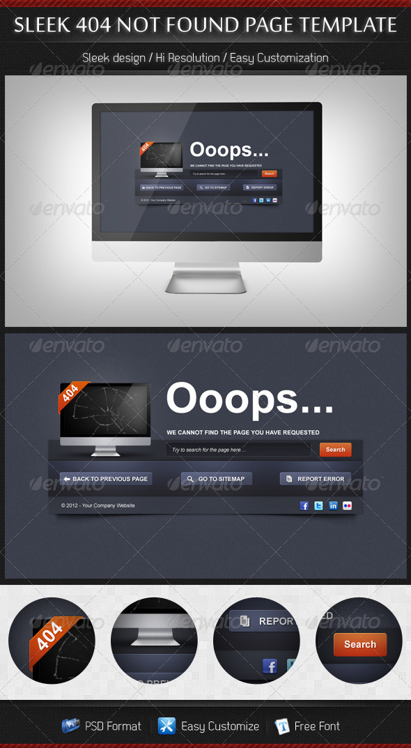 GraphicRiver Sleek 404 Page Not Found Web Template 3354924