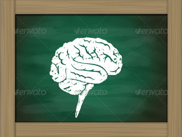 brain icon drawing on green chalkboard - Stock Photo - Images