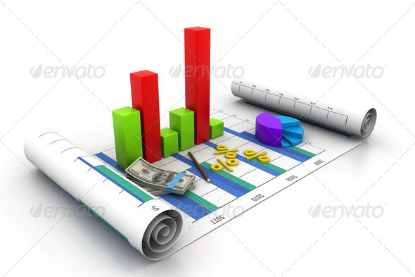 Business graph chart and money - Stock Photo - Images