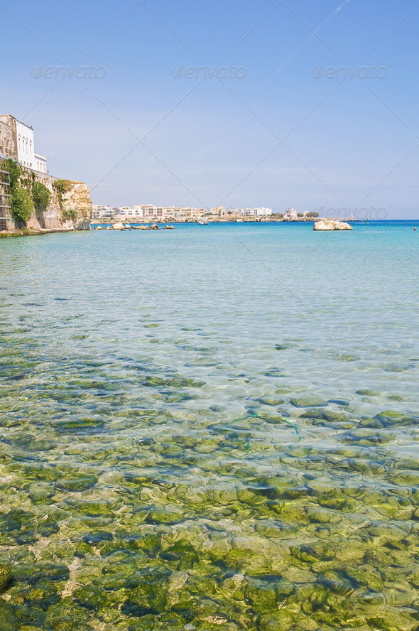 Panoramic view of Otranto. Puglia. Italy. - Stock Photo - Images