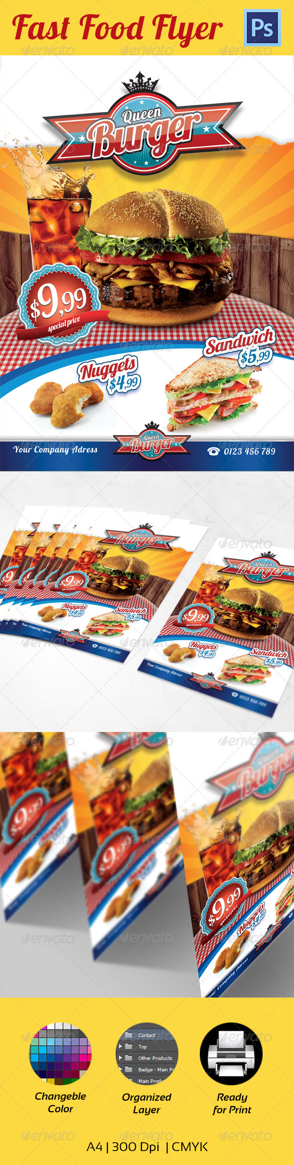 GraphicRiver Fast Food Flyer Template A4 3354947