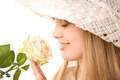 blonde woman with tea rose - PhotoDune Item for Sale