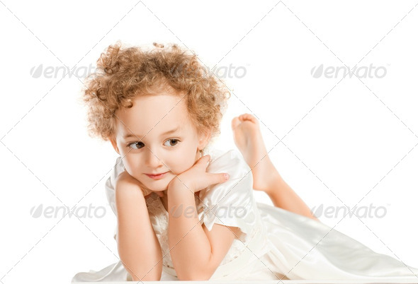 Pretty curly blond  little girl - Stock Photo - Images