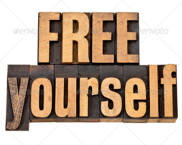 free yourself in wood type - Stock Photo - Images