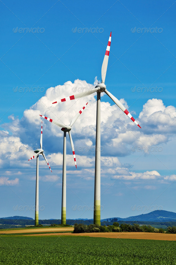 wind turbine of a wind power plant for electricity - Stock Photo - Images