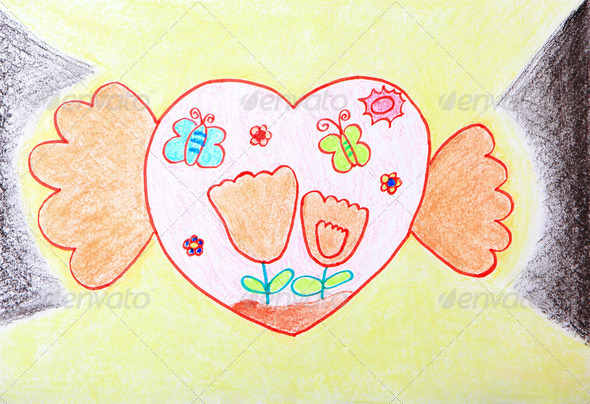 Child Painting - two hands holding sweet love heart - Stock Photo - Images