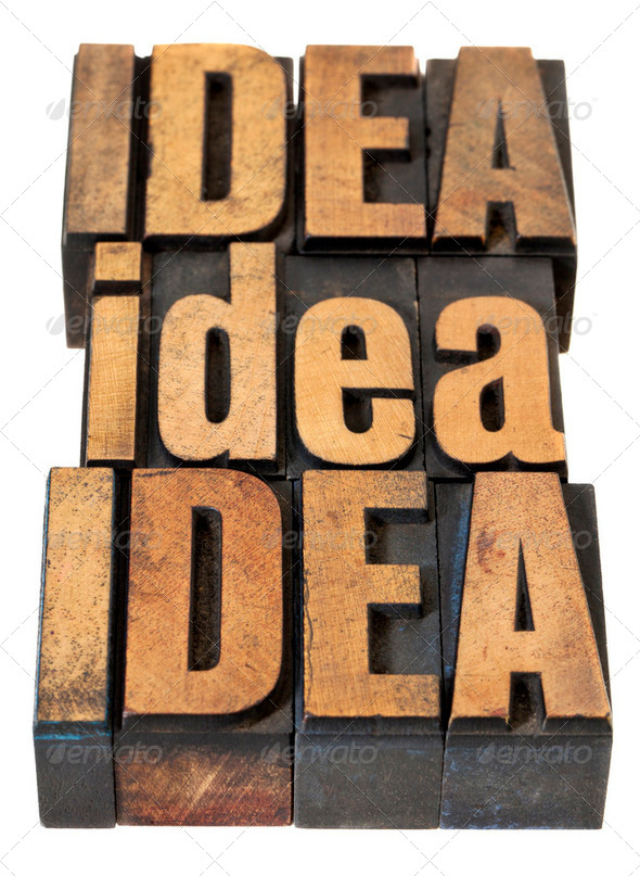 idea word abstract in wood type - Stock Photo - Images