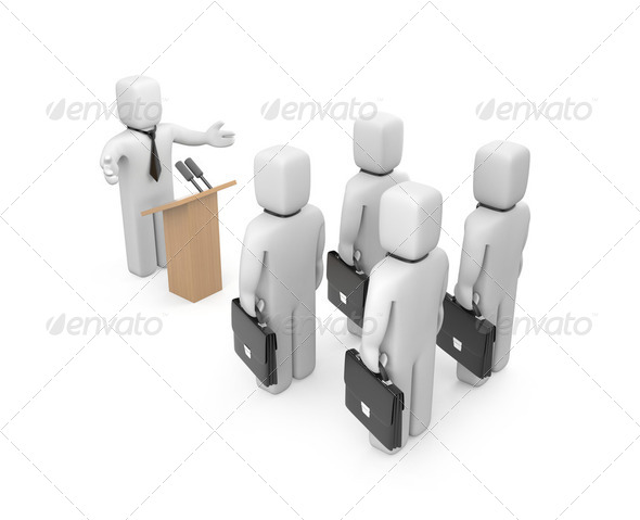Businessman speaking - Stock Photo - Images