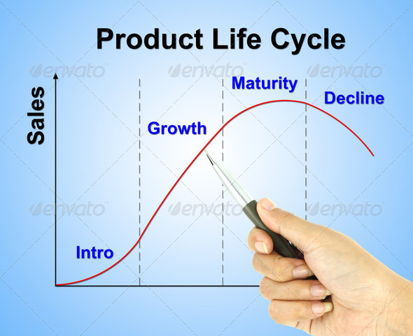 a pen pointer product life cycle chart (marketing concept pointe - Stock Photo - Images