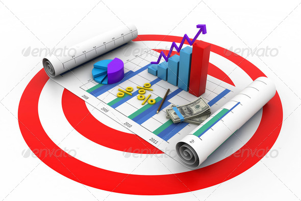 Business graph chart and money in target - Stock Photo - Images