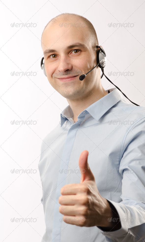sales representative man with headset - Stock Photo - Images