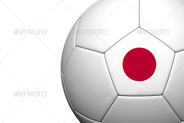 Japan Flag Pattern 3d rendering of a soccer ball - Stock Photo - Images
