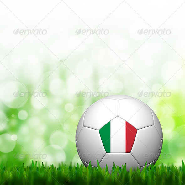 3D Football Italy Flag Patter in green grass and background - Stock Photo - Images