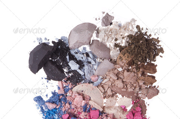 set of multicolor crushed eyeshadows - Stock Photo - Images