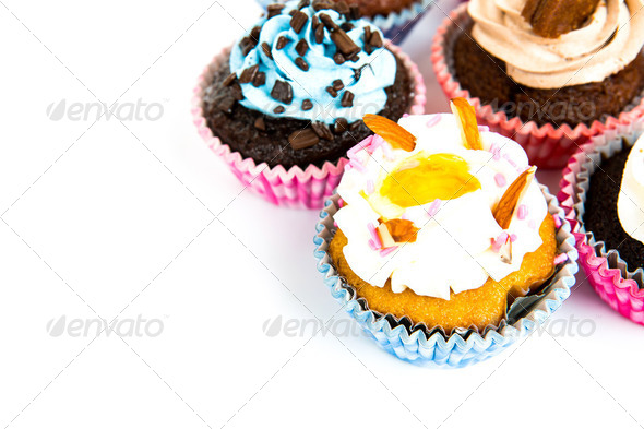 Cupcakes isolated on white background - Stock Photo - Images
