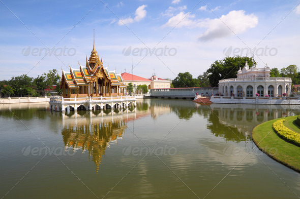 Palace center pond water reflex. - Stock Photo - Images