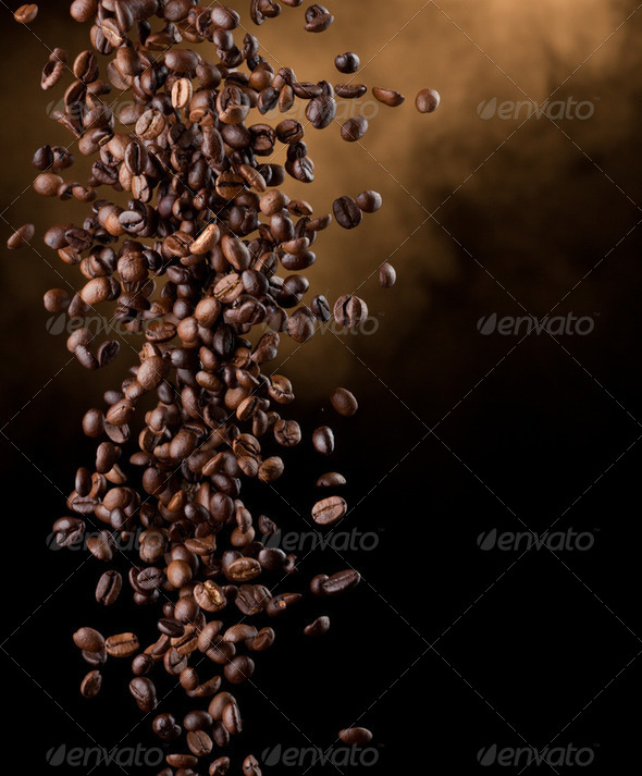 Flying coffee beans - Stock Photo - Images