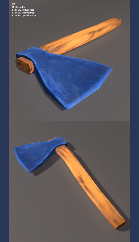 3DOcean Low Poly and high Poly Axe 3342255