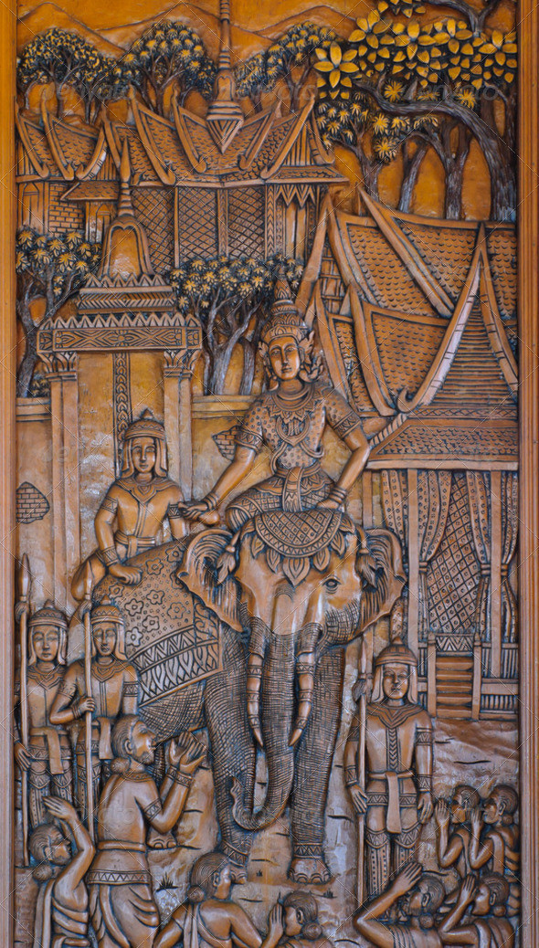 Thai wood carving - Stock Photo - Images