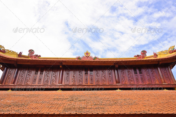 Vietnamese Temple Roof Decorate  - Stock Photo - Images