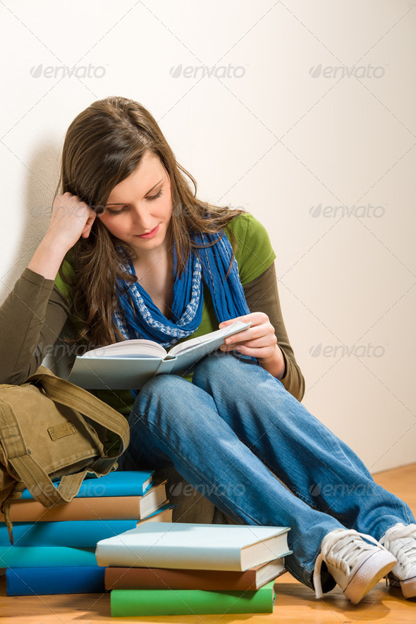 Student teenager girl read book - Stock Photo - Images