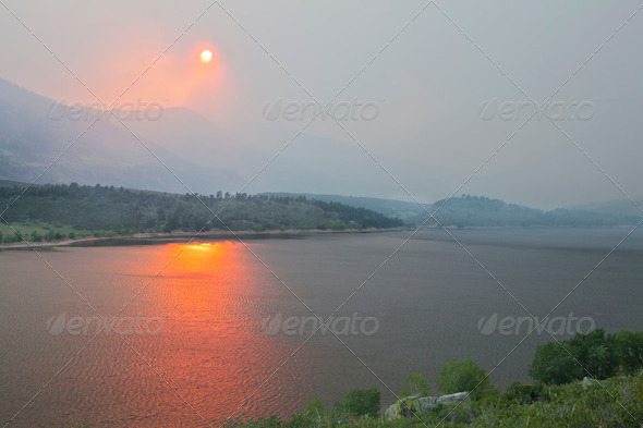 wildfire smole in Colorado - Stock Photo - Images