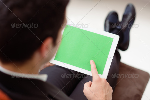 Businessman using computer with green screen for web and e-mail - Stock Photo - Images