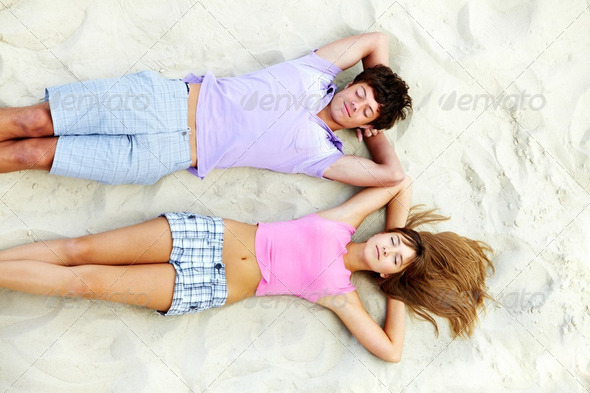 Relaxing teens - Stock Photo - Images