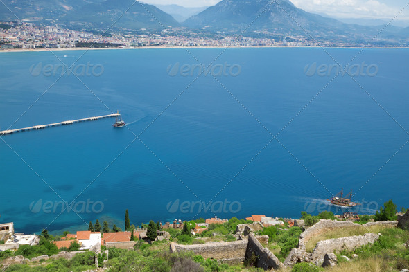 View of the Turkish city and port of Alanya - Stock Photo - Images