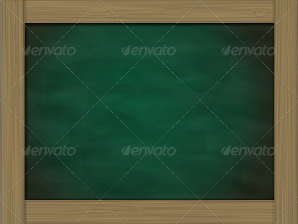 blank grunge green chalkboard and wood frame - Stock Photo - Images