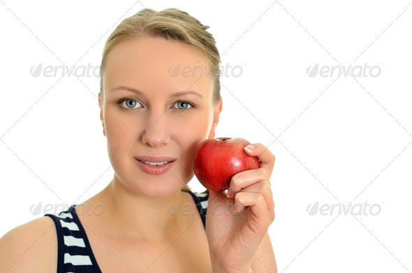 Pretty girl with apple, isolated on white - Stock Photo - Images
