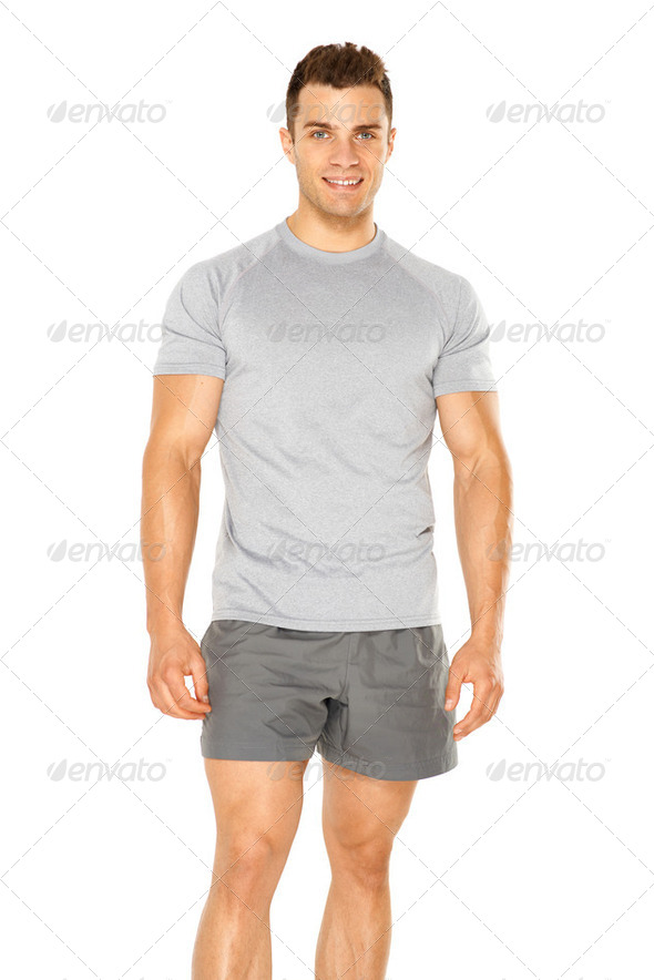 Healthy muscular young man isolated on white - Stock Photo - Images