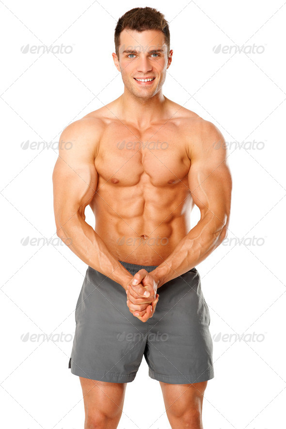 Sporty and healthy muscular man isolated on white - Stock Photo - Images