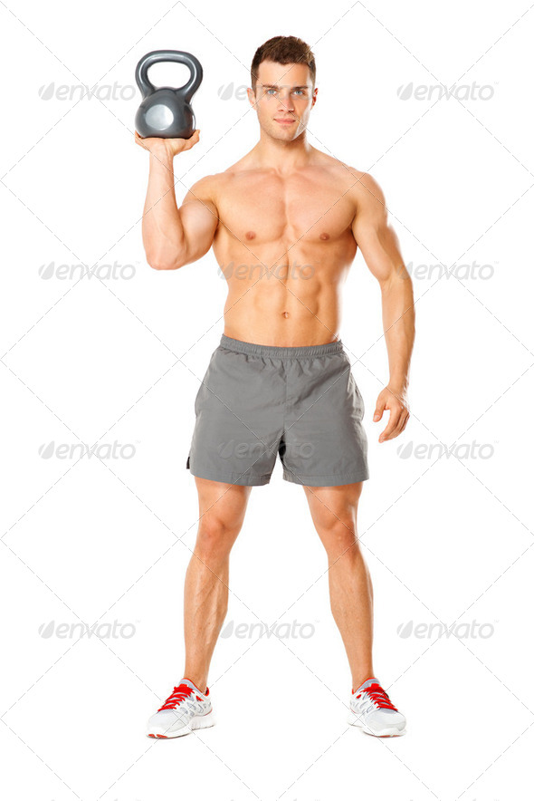 Handsome man working with kettlebell on white - Stock Photo - Images