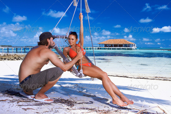 Couple at Maldives - Stock Photo - Images