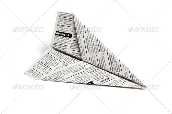 Newspaper Airplane - Stock Photo - Images