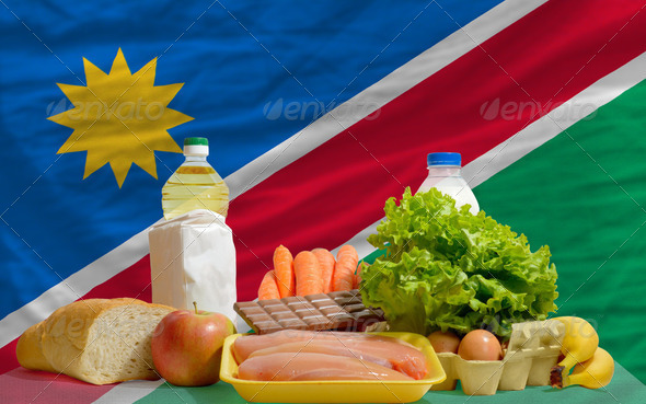 basic food groceries in front of namibia national flag - Stock Photo - Images