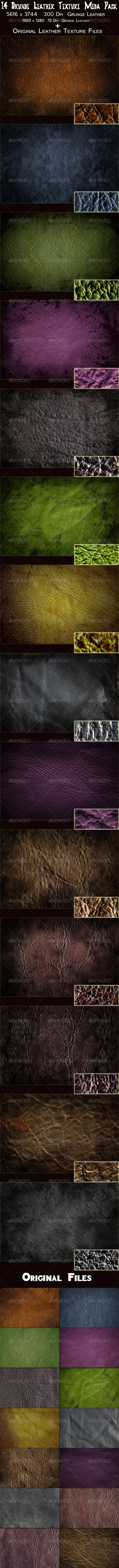 GraphicRiver 14 Grunge Leather Texture Mega Pack 3357360