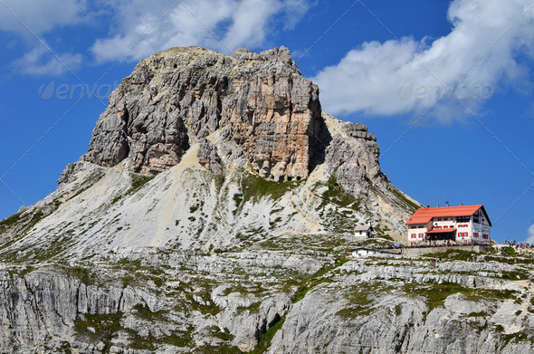 Drei Zinnen hut and Dolomites Sexten mountains - Stock Photo - Images
