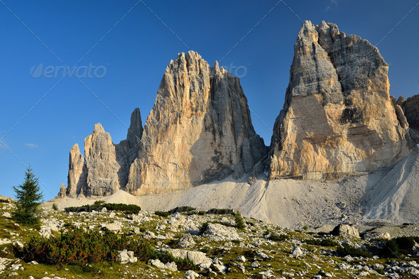 Tre Cime di Lavaredo, Sexten Dolomites in Italy - Stock Photo - Images